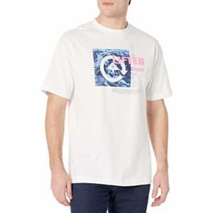 LRG Men's Short Sleeve Logo Design T-Shirt, Cliff Cycle White, L for $26