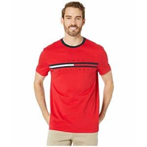 Tommy Hilfiger Men's Big & Tall Short Sleeve Logo T-Shirt, Apple Red, XL-TL for $31