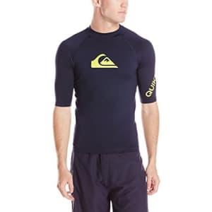Quiksilver Men's All Time Ss Short Sleeve Surf Tee Rashguard, Dark Blue, Small for $30