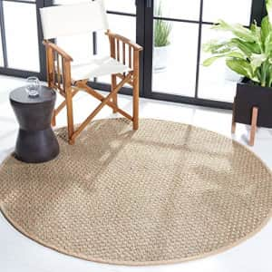 Safavieh Natural Fiber Collection NF114A Border Basketweave Seagrass Area Rug, 4' x 4' Round, Beige for $52