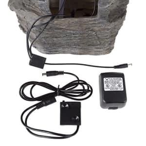 Pure Garden Tabletop Water Fountain with Cascading Rock Waterfall and LED Lights - Tiered Stone Table Fountain for $96