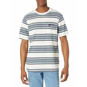 RVCA Men's TAKE Stripe Short Sleeve Crew Neck Pocket T-Shirt, Antique White, S for $27