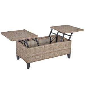 Outsunny Rattan Wicker Coffee Side Table with Double Lift Top Design, Large Storage Space, for $160