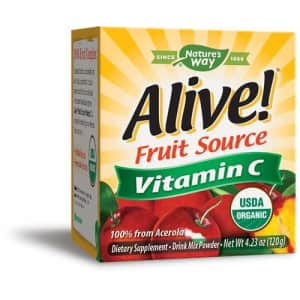 Nature's Way Alive! Vitamin C Powder, USDA Organic, 100% from Acerola, Kiwi, Lycium (Goji) Amla, for $29