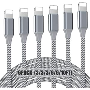 Nuinno MFi Certified Lightning Cable 6-Pack for $7