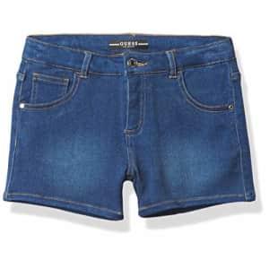 GUESS Girls' Big Stretch Denim Shorts, Medium Washed, 10 for $27