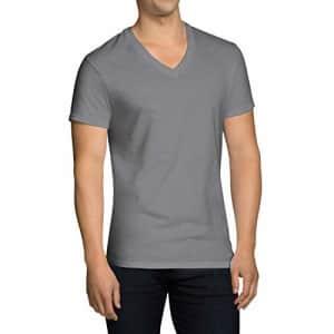 Fruit of the Loom Men's V-Neck T-Shirt Multipack, Black/Grey (5 Pack), Medium for $22