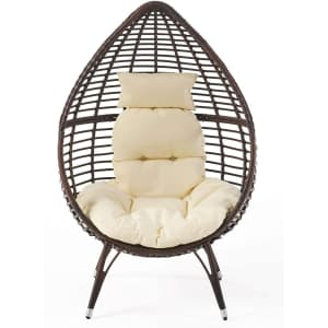 Christopher Knight Home Cutter Teardrop Wicker Lounge Chair w/ Cushion for $370