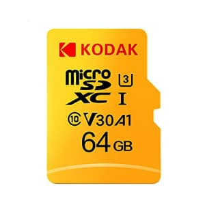 KODAK 64GB Micro SD Card, High Speed Memory Card, Read Speed up to 100MB/s, 4K Video Recording, for $11