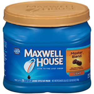 Maxwell House Master Blend Light Roast Ground Coffee (26.8 oz Canister) for $6