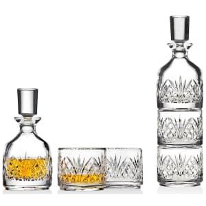 Godinger Dublin Stackable Crystal Whiskey Decanter w/ 2 Glasses for $28