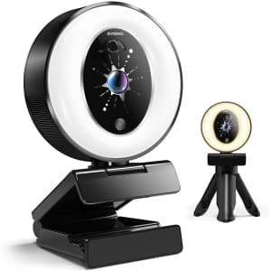 Ouperael 2K Webcam with Ring Light for $20