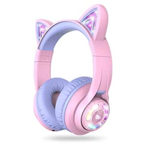 iClever BTH13 Bluetooth Headphones, Cat Ear LED Light Up Wireless Kids Headphones with Volume for $40