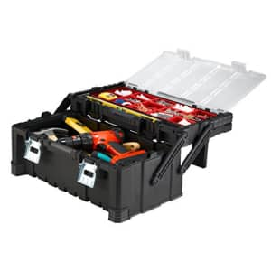 KETER 22 Inch Cantilever Plastic Portable Tool Box Organizer with Metal Latches for Small Parts, for $40
