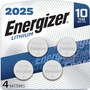 Energizer Lithium Coin Cell Battery 4-Pack for $5
