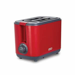 Dash DEZT001RD 2 Slice Extra Wide Slot Easy Toaster with Cool Touch + Defrost Feature, for Bagels, for $37