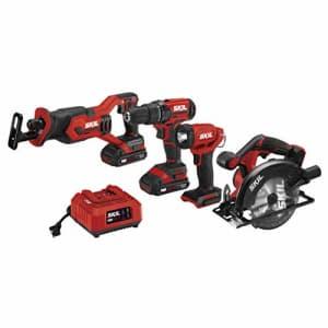 SKIL 20V 4-Tool Combo Kit: 20V Cordless Drill Driver, Reciprocating Saw, Circular Saw and for $180