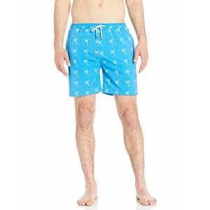 Marc Joseph New York Men's Soho Quick Dry Swim Trunks with Mesh Lining, Blue/White, X-Large for $16