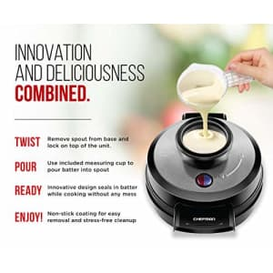 Chefman Perfect Pour Volcano Belgian Waffle Maker w/No Overflow Design Round Iron for Mess-Free for $37