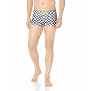 2(X)IST Men's Cabo Pattern Swim Trunk Swimwear, Check/Black/White, Medium for $42