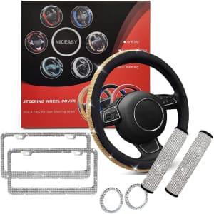 Niceasy Rhinestone Steering Wheel Cover Set w/ Belt Pads & License Plate from $7