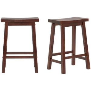 """StyleWell 24"""" Solid Wood Saddle Counter Stool: 2-pack for $57 or 4-pack for $101"""
