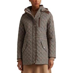 Lauren Ralph Lauren Women's Houndstooth Quilted Hooded Coat for $110
