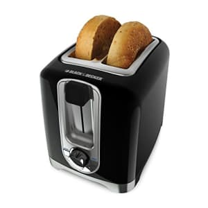 Black + Decker BLACK+DECKER 2-Slice Toaster, Square, Black with Chrome Accents, TR1256B for $43