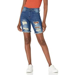 V.I.P. JEANS Women's Super Cute Jeans Shorts Washed, Acid Blue Bermuda, 5 for $18