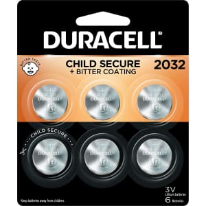 Duracell CR 2032 3V Lithium Coin Battery 6-Pack for $8