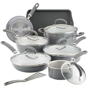Rachael Ray Create Delicious Nonstick Cookware Pots and Pans Set, 13 Piece, Gray Shimmer for $140