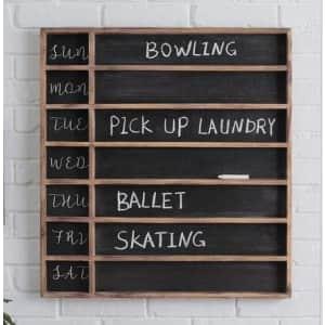 "StyleWell 26"" x 24"" Wood 7-Day Week Chalkboard for $43"