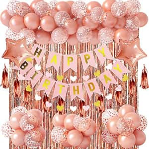Ouddy Rose Gold Birthday Party Decorations, Rose Gold Confetti Balloons with Happy Birthday Banner for $11