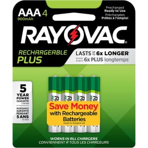 Rayovac Rechargeable Plus AAA Batteries 4-Pack for $34