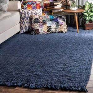 "nuLOOM Hand Woven Chunky Natural Jute Farmhouse Area Rug, 5' x 7' 6"", Navy Blue for $74"