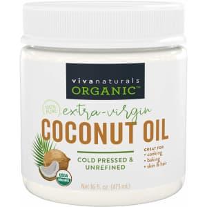 Viva Naturals Organic Extra Virgin Coconut Oil 16-oz. Jar for $12