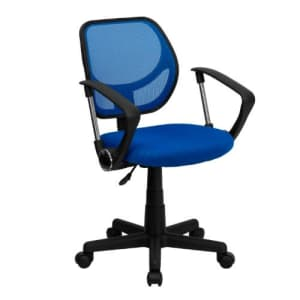 Flash Furniture Low Back Blue Mesh Swivel Task Office Chair with Curved Square Back and Arms for $72