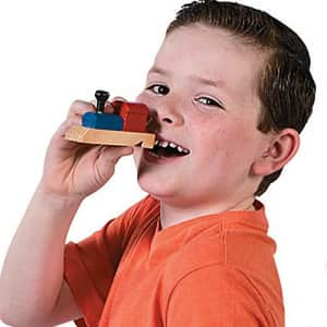 Fun Express Wooden Train Whistles Shaped as Locomotives (Set of 12) Party Supplies and Kids Toys for $15