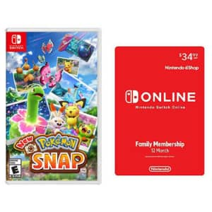 New Pokemon Snap for Switch + Nintendo Switch Online 12-Month Family Membership for $75