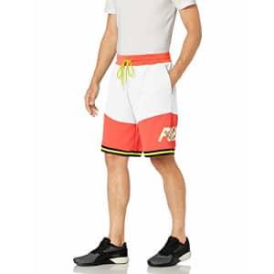 PUMA Men's LUXTG Basketball Shorts, White-Nrgy Redyellow Alert Black, 3X-Large for $53