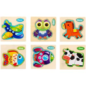 TGHJ Toddler Wooden Animal Jigsaw Puzzle 6-Pack for $8