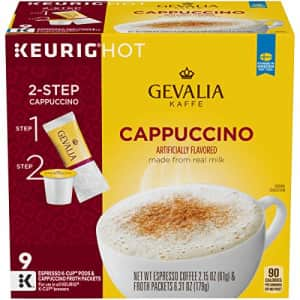 Gevalia Cappuccino Espresso K-Cup Coffee Pods (9 Pods and Froth Packets) for $38