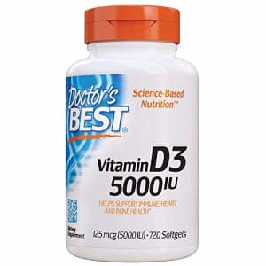 Doctor'S Best Vitamin D3 5, 000 Iu for Healthy Bones, Teeth, Heart & Immune Support, Non-GMO, for $24