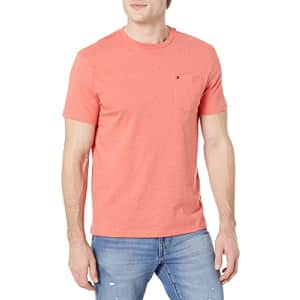 Tommy Hilfiger Men's Regular Short Sleeve Crewneck T Shirt with Pocket, B0452 Red Heath, XL for $21