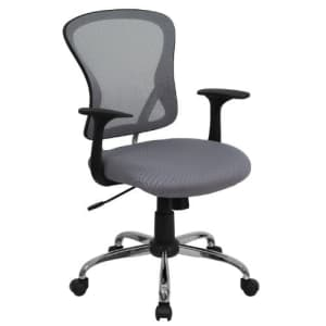 Flash Furniture Mid-Back Gray Mesh Swivel Task Office Chair with Chrome Base and Arms for $113