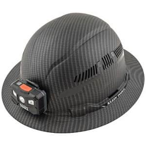 Klein Tools 60347 Hard Hat, Vented Full Brim, Class C, Premium KARBN Pattern, Rechargeable Lamp, for $80