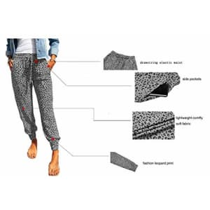 onlypuff Casual Drawstring Running Pants for Women Activewear Pockets Sporty Pants Gray Leopard XXL for $26