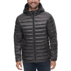 Calvin Klein Men's Packable Down Hooded Puffer Jacket for $80