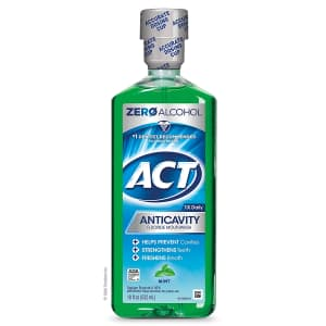 ACT Dry Mouth Anticavity Zero Alcohol Fluoride Mouthwash 18 fl. oz. for $4