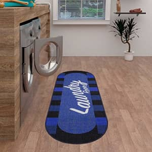 """Ottomanson Laundry Collection Area Rug, 20""""X59"""" Oval, Navy Checkered, Blue Checker,, ,, for $15"""